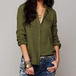 Free People double cloth gauze button down shirt